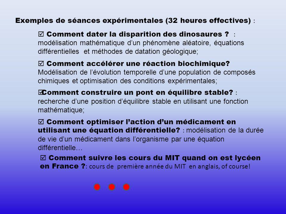 Exemples de séances expérimentales (32 heures effectives) : Comment dater la disparition des dinosaures ? : modélisation mathématique dun phénomène al