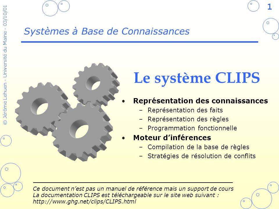 92 © Jérôme Lehuen - Université du Maine - 03/10/01 La classe des canards (defclass DUCK (is-a USER) (role concrete) (slot son (create-accessor read-write)) (slot age (create-accessor read-write) (default 0))) (defmessage-handler DUCK parler (?phrase) (printout t ?phrase crlf)) (defmessage-handler DUCK parler before (?phrase) (printout t ?self:son )) (definstances objets-initiaux (Donald of DUCK)) CLIPS> (reset) CLIPS> (send [Donald] put-son coin-coin) CLIPS> (send [Donald] print) CLIPS> (make-instance Gaetan of DUCK (son coui-coui) (age 2)) CLIPS> (send [Gaetan] get-age) CLIPS> (instances) CLIPS> (send [Donald] parler Hello World ) À tester