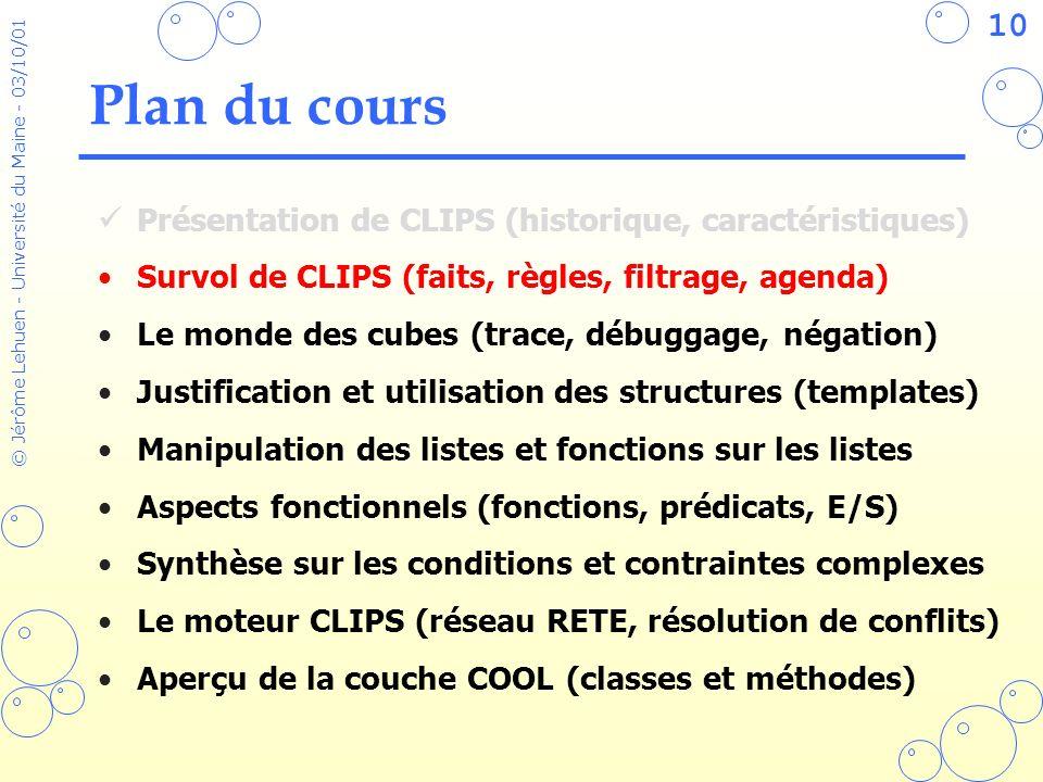 10 © Jérôme Lehuen - Université du Maine - 03/10/01 Plan du cours Présentation de CLIPS (historique, caractéristiques) Survol de CLIPS (faits, règles,