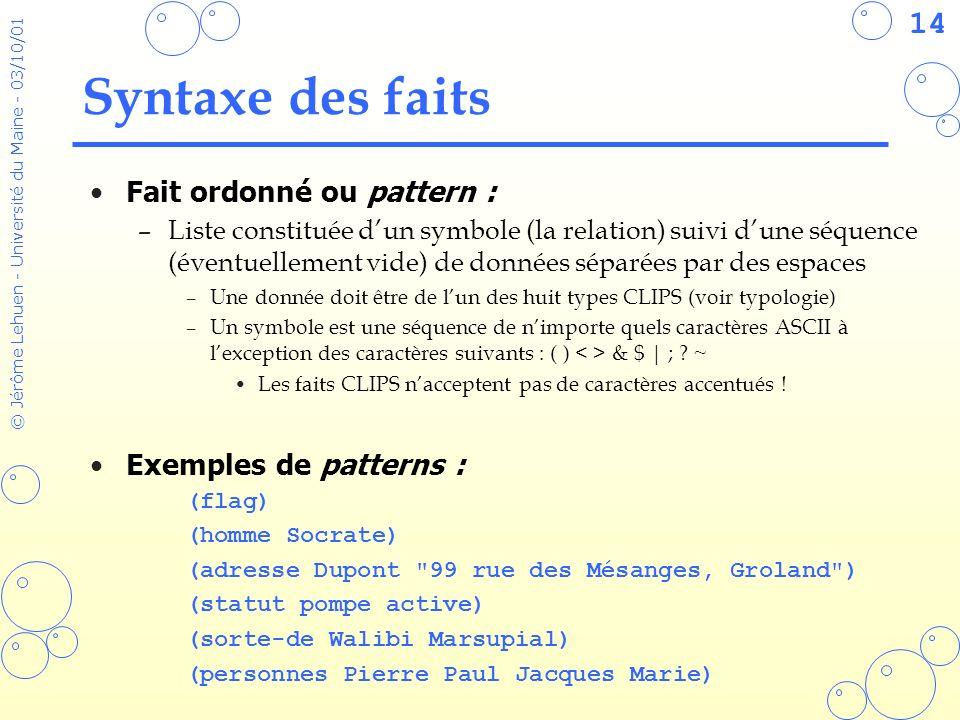 14 © Jérôme Lehuen - Université du Maine - 03/10/01 Syntaxe des faits Fait ordonné ou pattern : –Liste constituée dun symbole (la relation) suivi dune