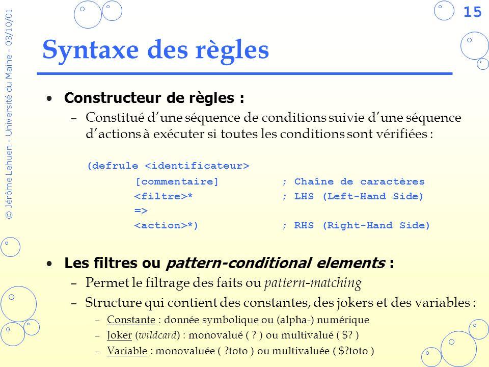 15 © Jérôme Lehuen - Université du Maine - 03/10/01 Syntaxe des règles Constructeur de règles : –Constitué dune séquence de conditions suivie dune séq