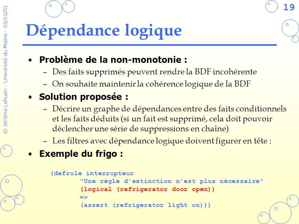 19 © Jérôme Lehuen - Université du Maine - 03/10/01 Dépendance logique Problème de la non-monotonie : –Des faits supprimés peuvent rendre la BDF incoh