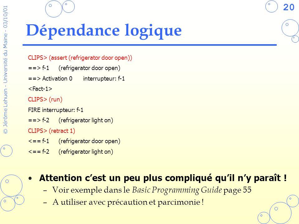 20 © Jérôme Lehuen - Université du Maine - 03/10/01 Dépendance logique Attention cest un peu plus compliqué quil ny paraît ! –Voir exemple dans le Bas