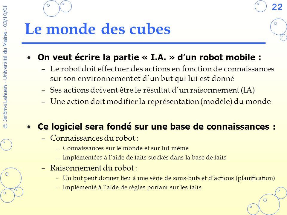 22 © Jérôme Lehuen - Université du Maine - 03/10/01 Le monde des cubes On veut écrire la partie « I.A. » dun robot mobile : –Le robot doit effectuer d
