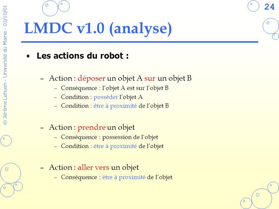 24 © Jérôme Lehuen - Université du Maine - 03/10/01 LMDC v1.0 (analyse) Les actions du robot : –Action : déposer un objet A sur un objet B –Conséquenc
