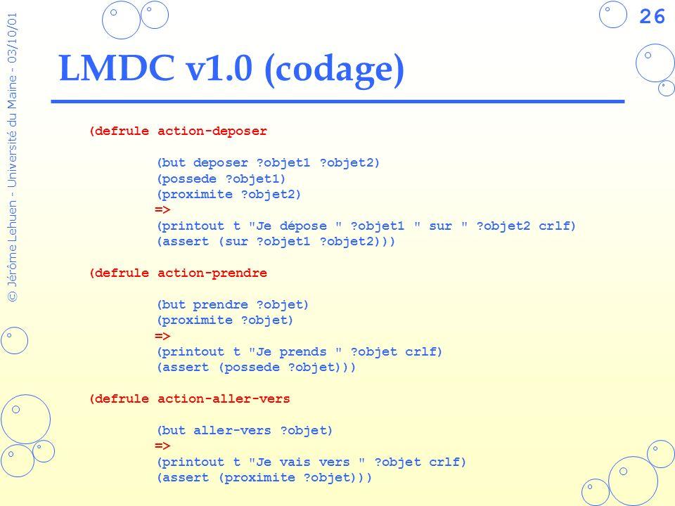 26 © Jérôme Lehuen - Université du Maine - 03/10/01 LMDC v1.0 (codage) (defrule action-deposer (but deposer ?objet1 ?objet2) (possede ?objet1) (proxim
