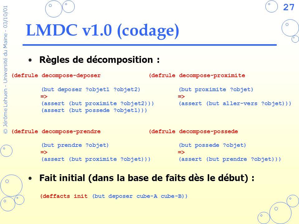 27 © Jérôme Lehuen - Université du Maine - 03/10/01 LMDC v1.0 (codage) Règles de décomposition : Fait initial (dans la base de faits dès le début) : (