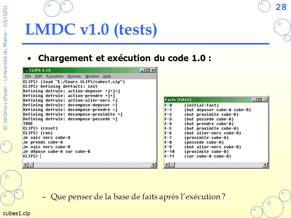 28 © Jérôme Lehuen - Université du Maine - 03/10/01 LMDC v1.0 (tests) Chargement et exécution du code 1.0 : –Que penser de la base de faits après lexé