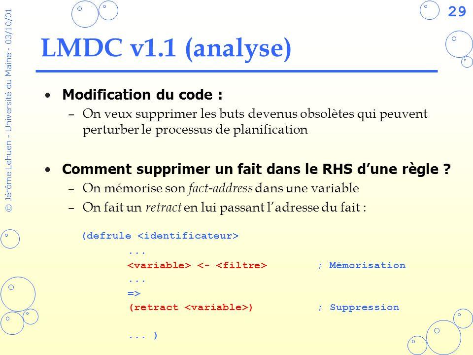 29 © Jérôme Lehuen - Université du Maine - 03/10/01 LMDC v1.1 (analyse) Modification du code : –On veux supprimer les buts devenus obsolètes qui peuve