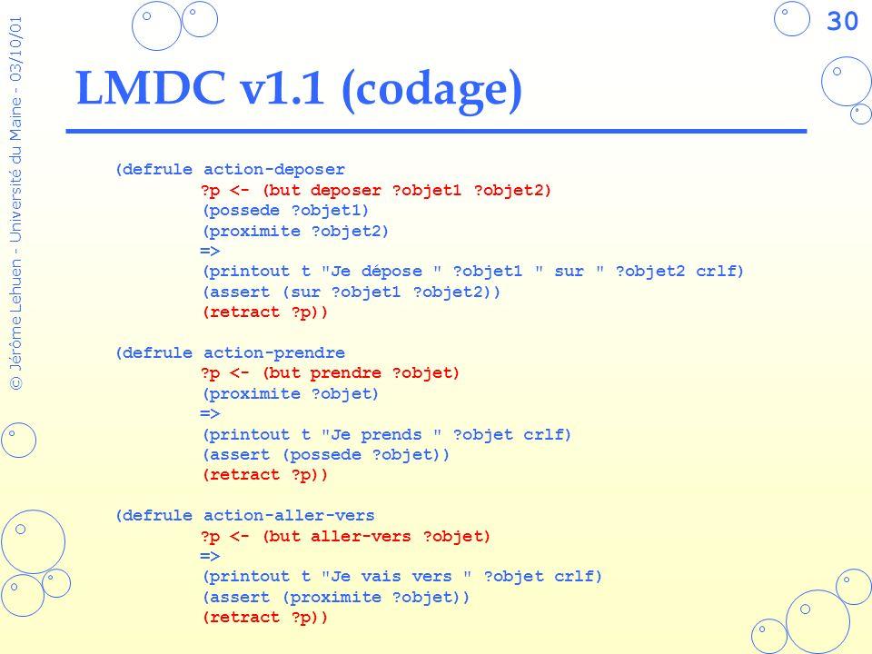 30 © Jérôme Lehuen - Université du Maine - 03/10/01 LMDC v1.1 (codage) (defrule action-deposer ?p <- (but deposer ?objet1 ?objet2) (possede ?objet1) (