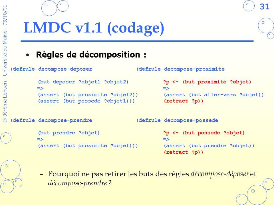 31 © Jérôme Lehuen - Université du Maine - 03/10/01 LMDC v1.1 (codage) Règles de décomposition : –Pourquoi ne pas retirer les buts des règles décompos