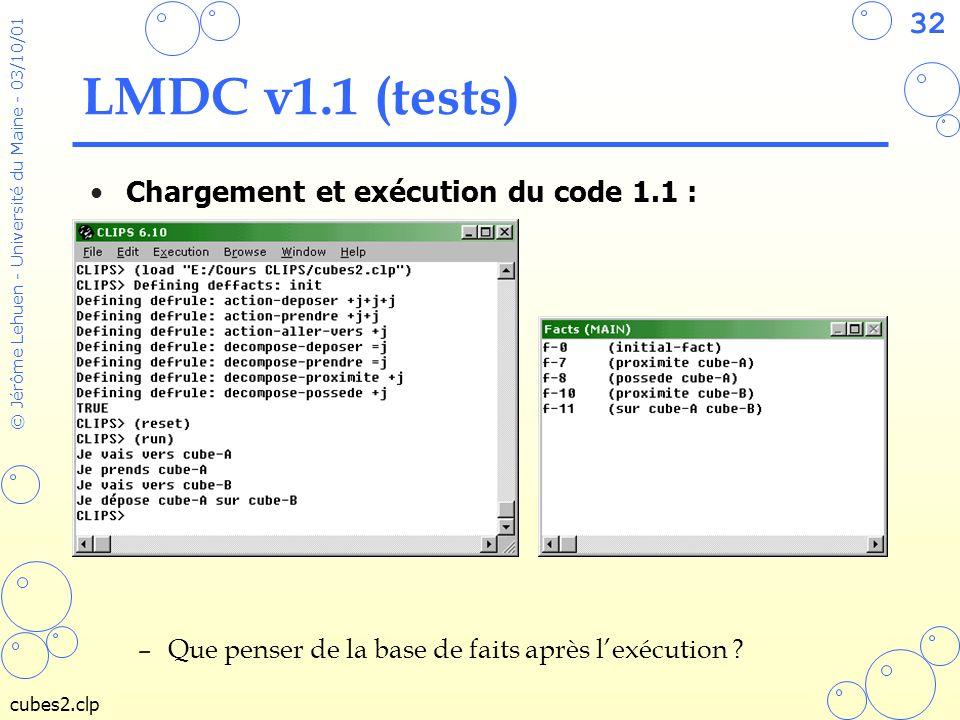 32 © Jérôme Lehuen - Université du Maine - 03/10/01 LMDC v1.1 (tests) Chargement et exécution du code 1.1 : –Que penser de la base de faits après lexé