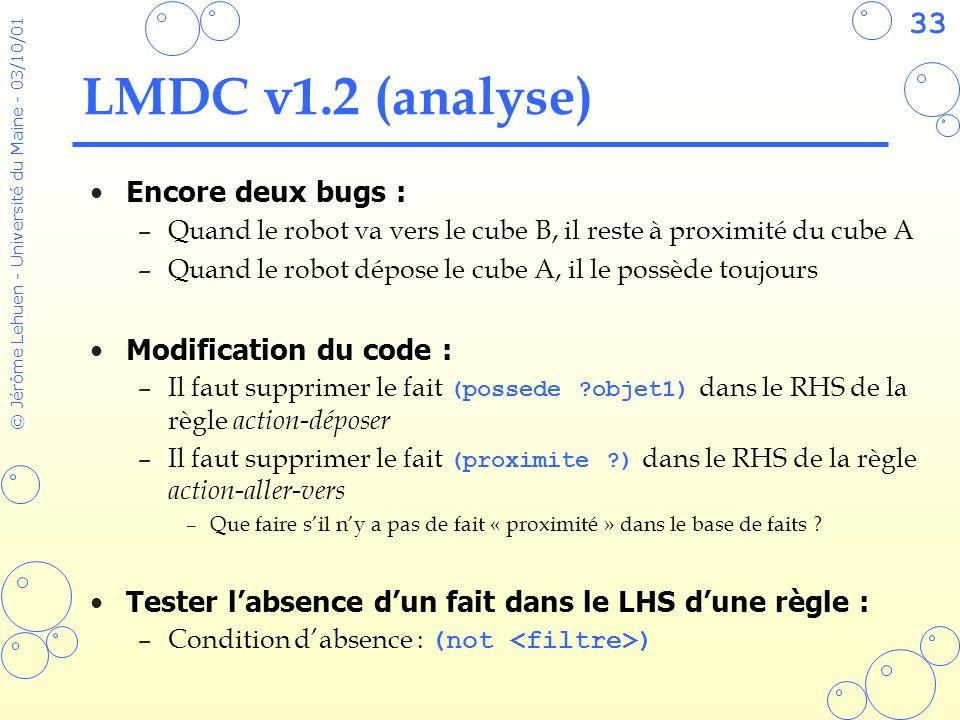 33 © Jérôme Lehuen - Université du Maine - 03/10/01 LMDC v1.2 (analyse) Encore deux bugs : –Quand le robot va vers le cube B, il reste à proximité du
