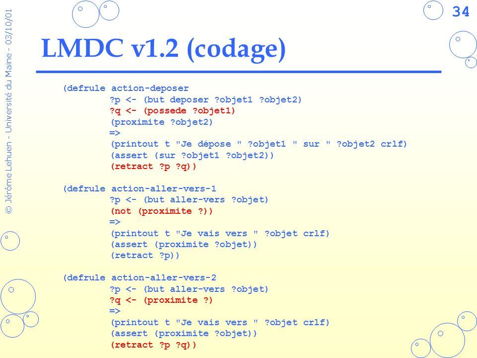 34 © Jérôme Lehuen - Université du Maine - 03/10/01 LMDC v1.2 (codage) (defrule action-deposer ?p <- (but deposer ?objet1 ?objet2) ?q <- (possede ?obj