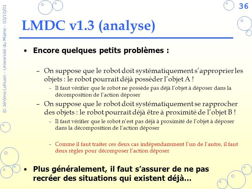36 © Jérôme Lehuen - Université du Maine - 03/10/01 LMDC v1.3 (analyse) Encore quelques petits problèmes : –On suppose que le robot doit systématiquem