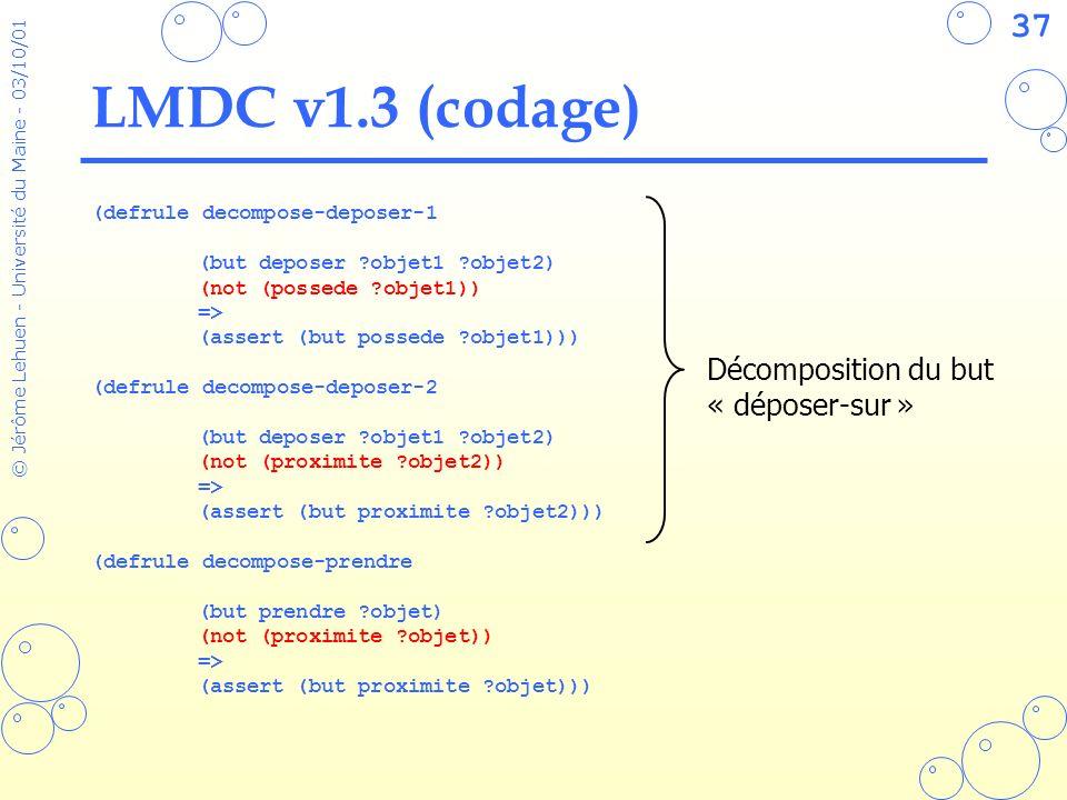37 © Jérôme Lehuen - Université du Maine - 03/10/01 LMDC v1.3 (codage) (defrule decompose-deposer-1 (but deposer ?objet1 ?objet2) (not (possede ?objet