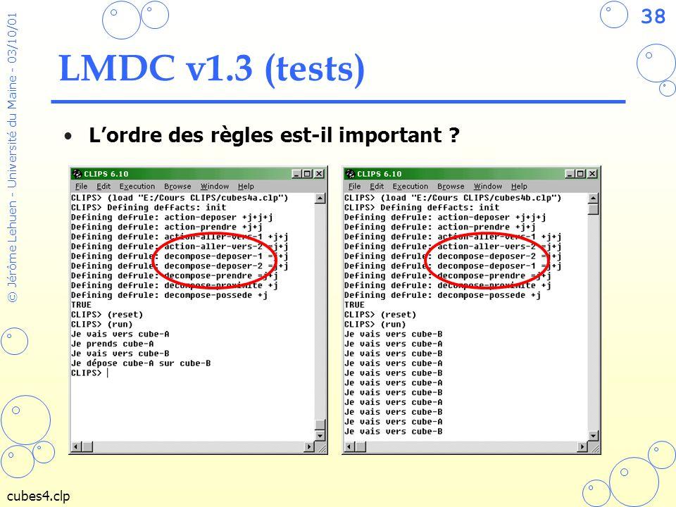 38 © Jérôme Lehuen - Université du Maine - 03/10/01 LMDC v1.3 (tests) Lordre des règles est-il important ? cubes4.clp