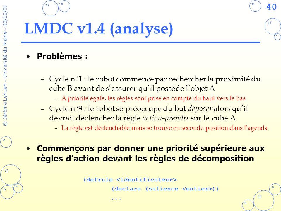 40 © Jérôme Lehuen - Université du Maine - 03/10/01 LMDC v1.4 (analyse) Problèmes : –Cycle n°1 : le robot commence par rechercher la proximité du cube