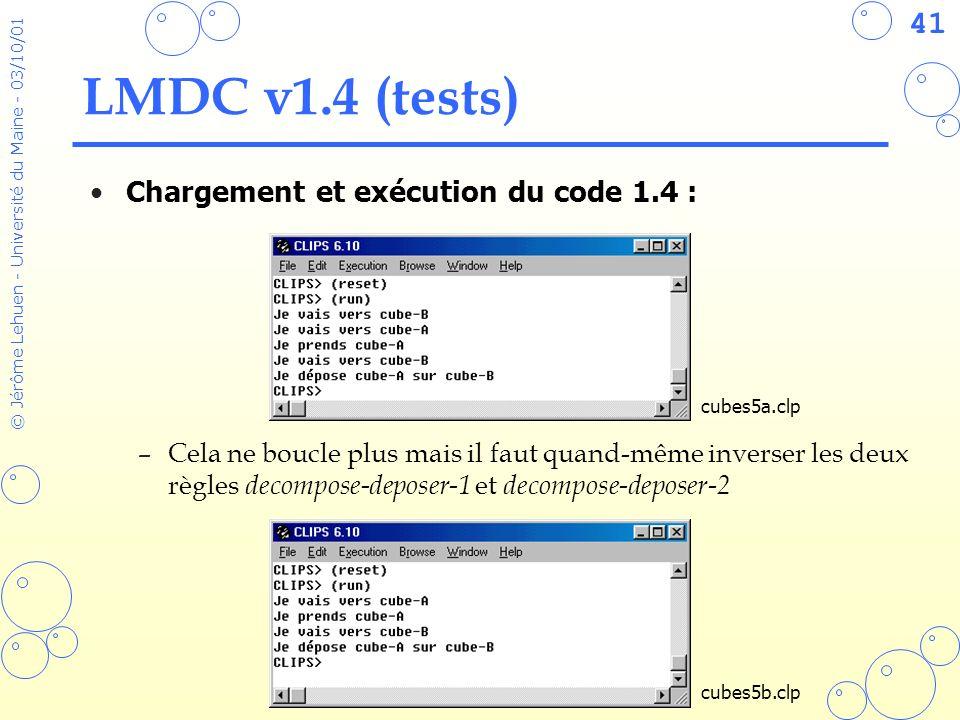 41 © Jérôme Lehuen - Université du Maine - 03/10/01 LMDC v1.4 (tests) Chargement et exécution du code 1.4 : –Cela ne boucle plus mais il faut quand-mê