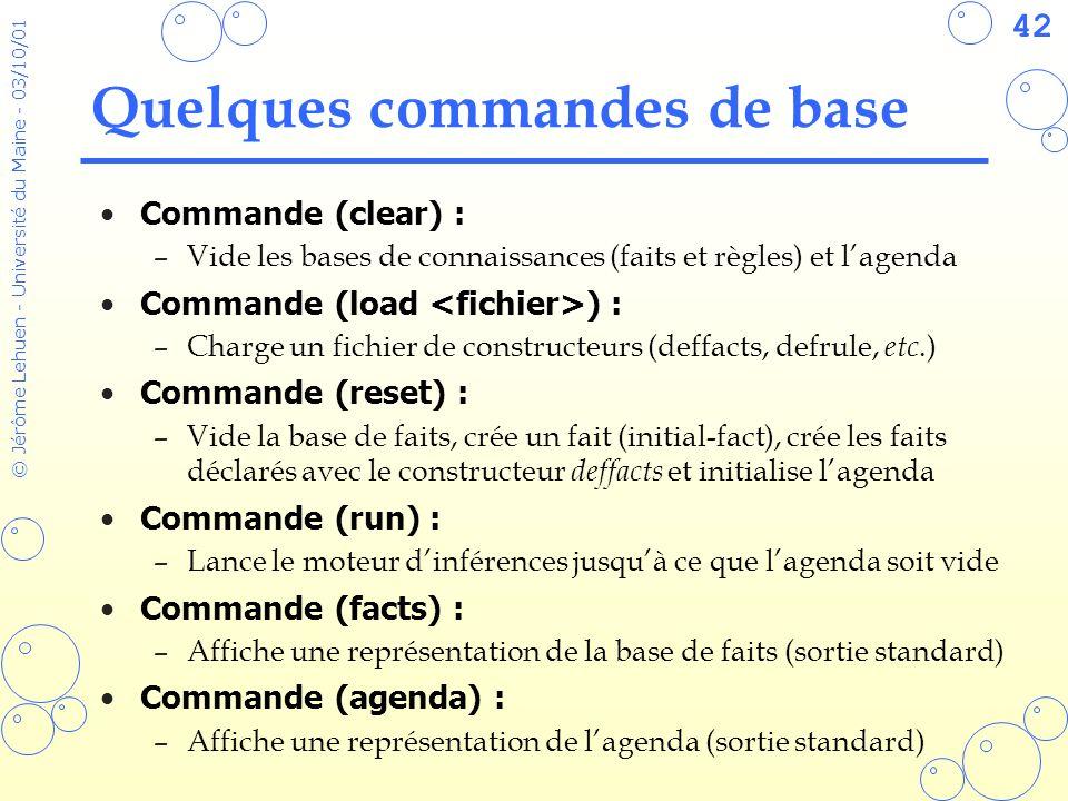42 © Jérôme Lehuen - Université du Maine - 03/10/01 Quelques commandes de base Commande (clear) : –Vide les bases de connaissances (faits et règles) e