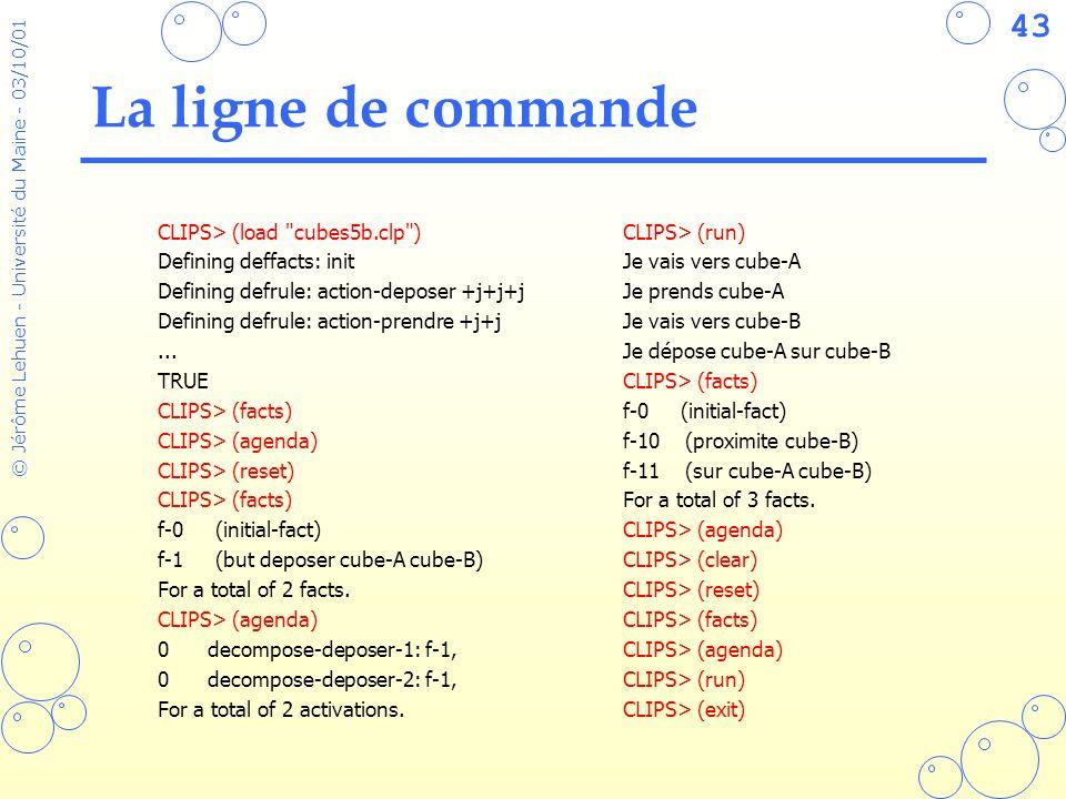 43 © Jérôme Lehuen - Université du Maine - 03/10/01 La ligne de commande CLIPS> (load