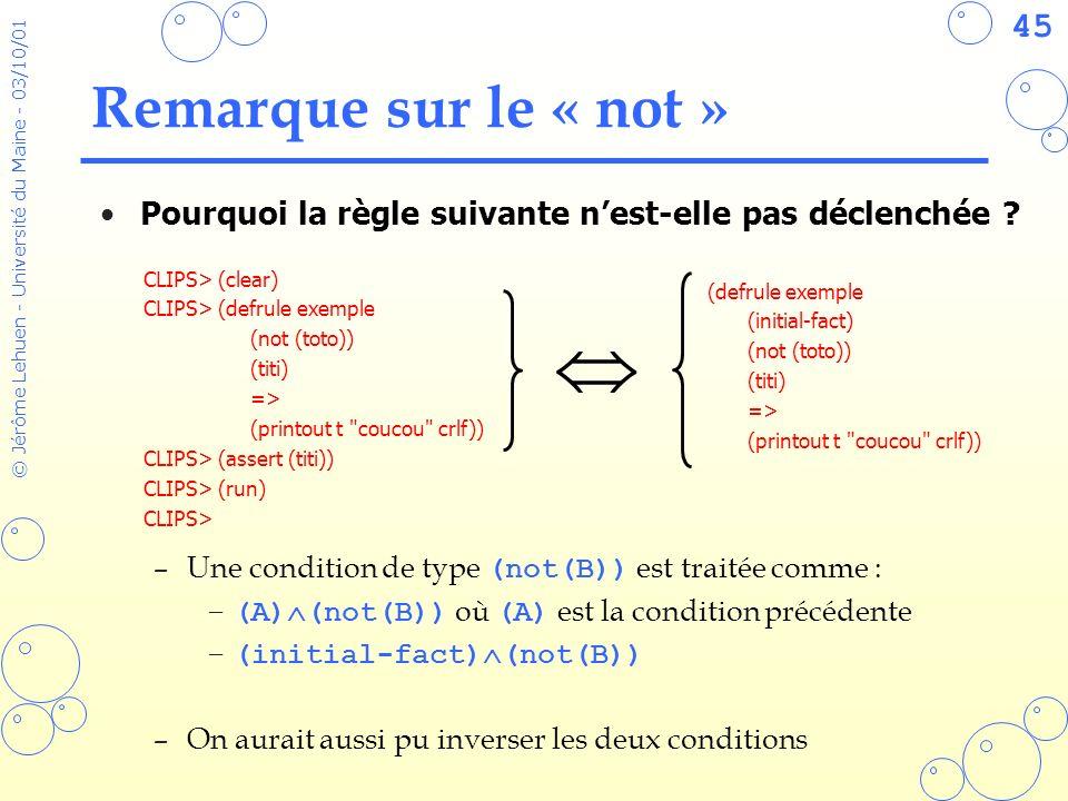 45 © Jérôme Lehuen - Université du Maine - 03/10/01 Remarque sur le « not » Pourquoi la règle suivante nest-elle pas déclenchée ? –Une condition de ty