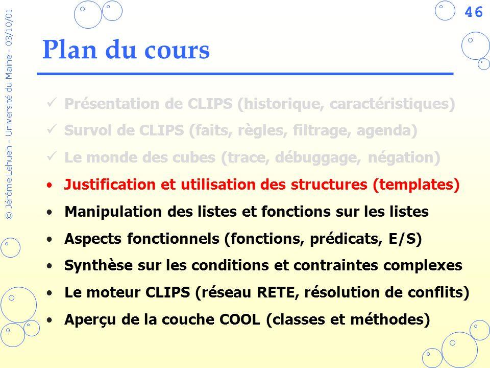 46 © Jérôme Lehuen - Université du Maine - 03/10/01 Plan du cours Présentation de CLIPS (historique, caractéristiques) Survol de CLIPS (faits, règles,