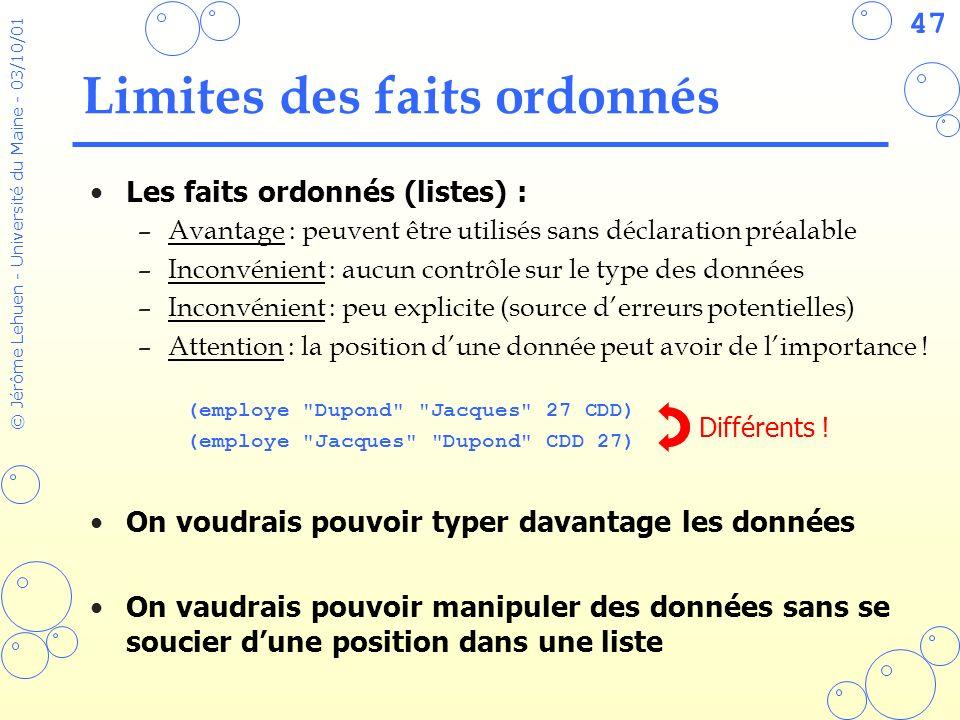 47 © Jérôme Lehuen - Université du Maine - 03/10/01 Limites des faits ordonnés Les faits ordonnés (listes) : –Avantage : peuvent être utilisés sans dé