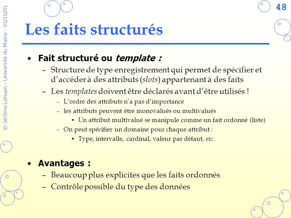 48 © Jérôme Lehuen - Université du Maine - 03/10/01 Les faits structurés Fait structuré ou template : –Structure de type enregistrement qui permet de
