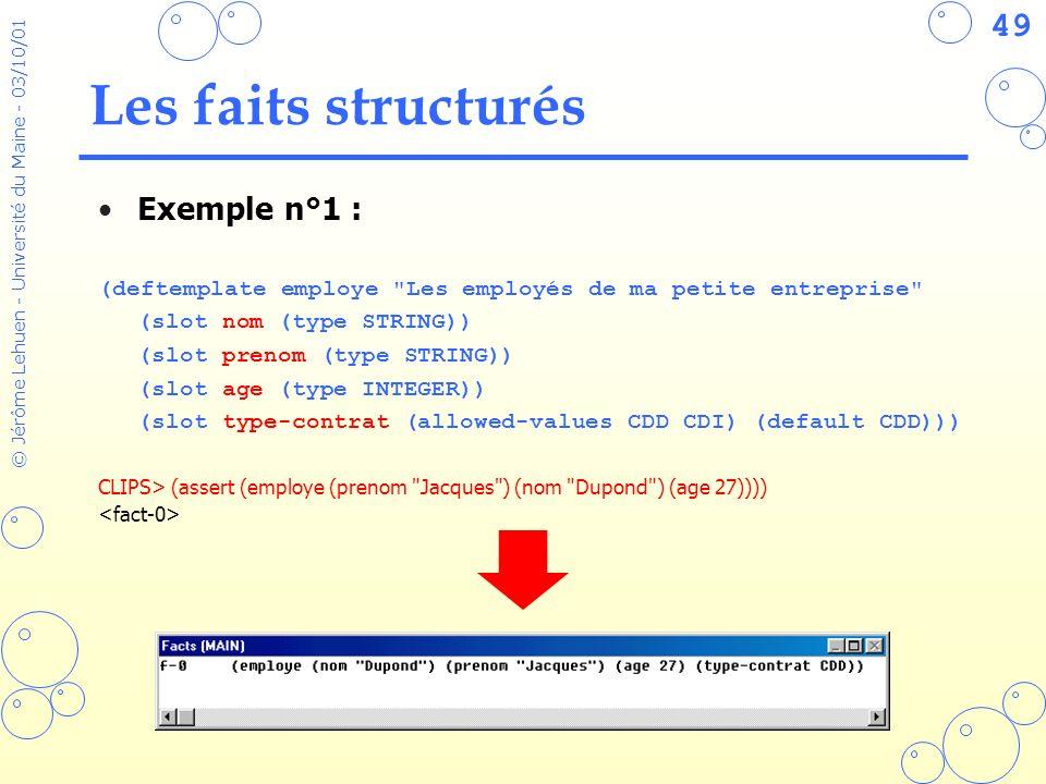 49 © Jérôme Lehuen - Université du Maine - 03/10/01 Les faits structurés Exemple n°1 : (deftemplate employe