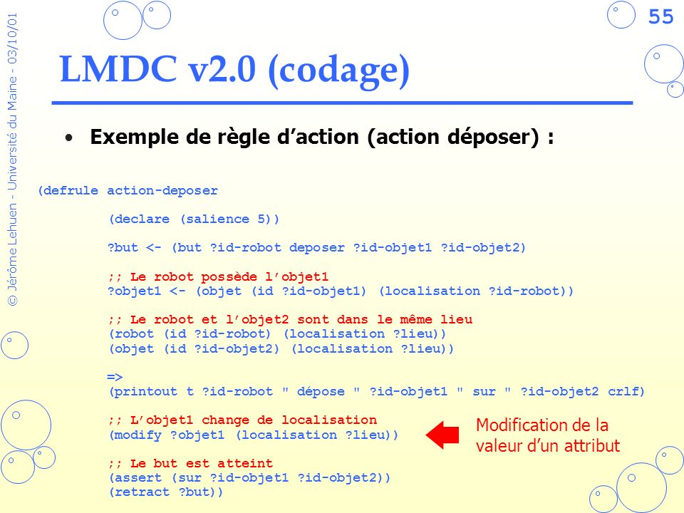 55 © Jérôme Lehuen - Université du Maine - 03/10/01 LMDC v2.0 (codage) Exemple de règle daction (action déposer) : Modification de la valeur dun attri