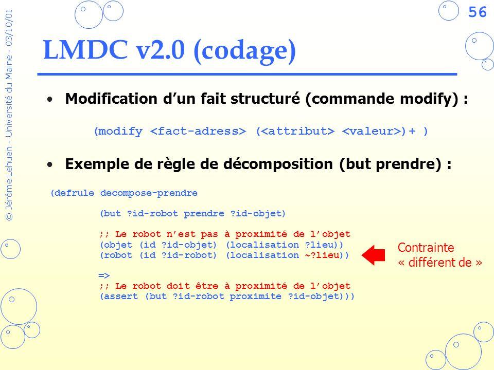 56 © Jérôme Lehuen - Université du Maine - 03/10/01 LMDC v2.0 (codage) Modification dun fait structuré (commande modify) : Exemple de règle de décompo