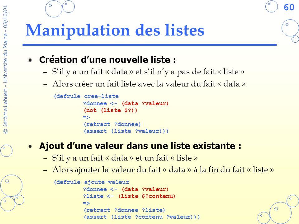 60 © Jérôme Lehuen - Université du Maine - 03/10/01 Manipulation des listes Création dune nouvelle liste : –Sil y a un fait « data » et sil ny a pas d