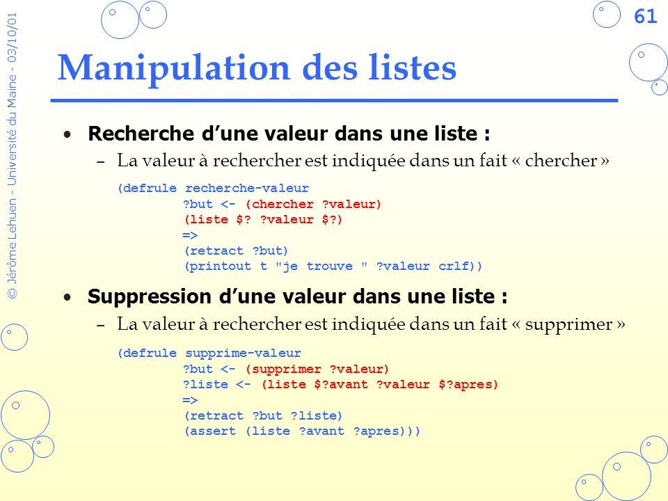 61 © Jérôme Lehuen - Université du Maine - 03/10/01 Manipulation des listes Recherche dune valeur dans une liste : –La valeur à rechercher est indiqué