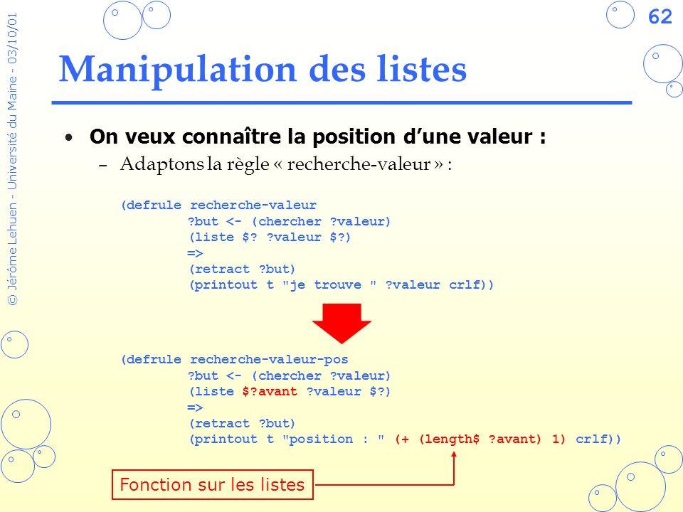 62 © Jérôme Lehuen - Université du Maine - 03/10/01 Manipulation des listes On veux connaître la position dune valeur : –Adaptons la règle « recherche