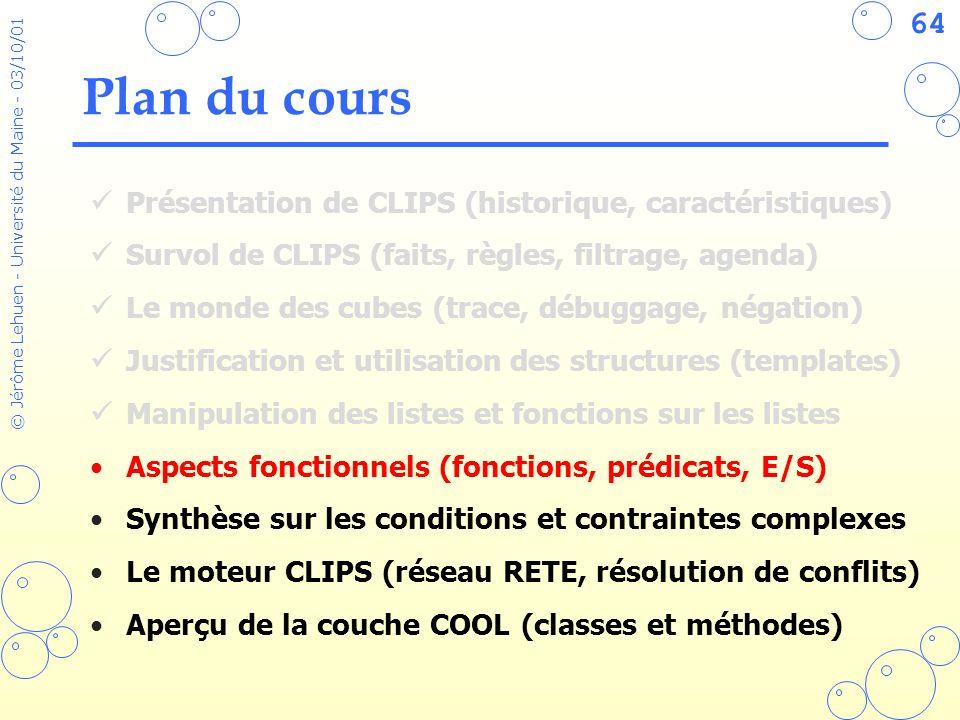 64 © Jérôme Lehuen - Université du Maine - 03/10/01 Plan du cours Présentation de CLIPS (historique, caractéristiques) Survol de CLIPS (faits, règles,