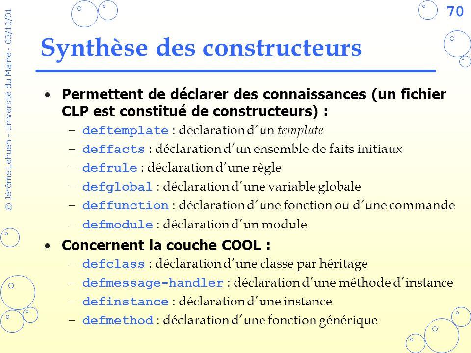 70 © Jérôme Lehuen - Université du Maine - 03/10/01 Synthèse des constructeurs Permettent de déclarer des connaissances (un fichier CLP est constitué