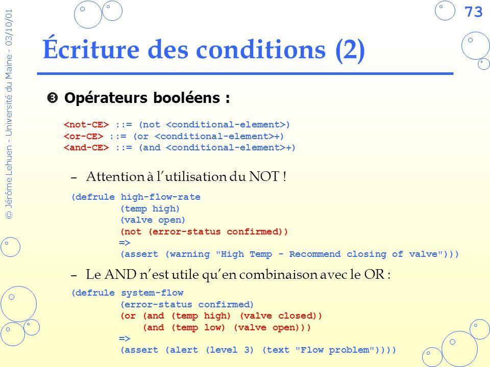 73 © Jérôme Lehuen - Université du Maine - 03/10/01 Écriture des conditions (2) Opérateurs booléens : –Attention à lutilisation du NOT .