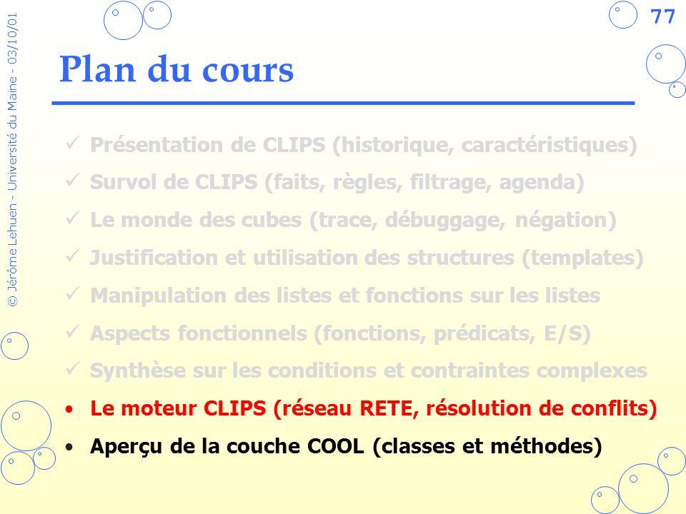 77 © Jérôme Lehuen - Université du Maine - 03/10/01 Plan du cours Présentation de CLIPS (historique, caractéristiques) Survol de CLIPS (faits, règles,