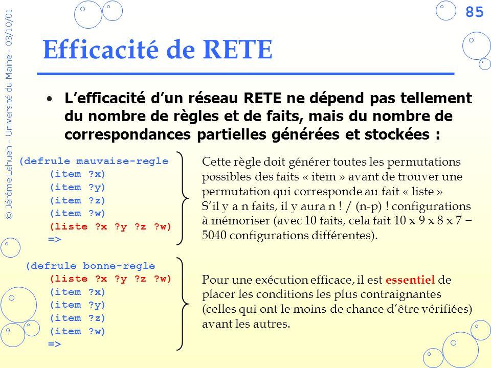 85 © Jérôme Lehuen - Université du Maine - 03/10/01 Efficacité de RETE (defrule mauvaise-regle (item ?x) (item ?y) (item ?z) (item ?w) (liste ?x ?y ?z
