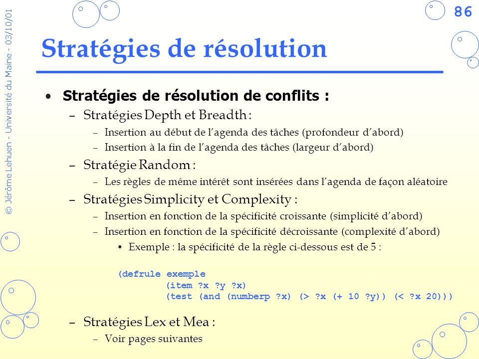 86 © Jérôme Lehuen - Université du Maine - 03/10/01 Stratégies de résolution Stratégies de résolution de conflits : –Stratégies Depth et Breadth : –In
