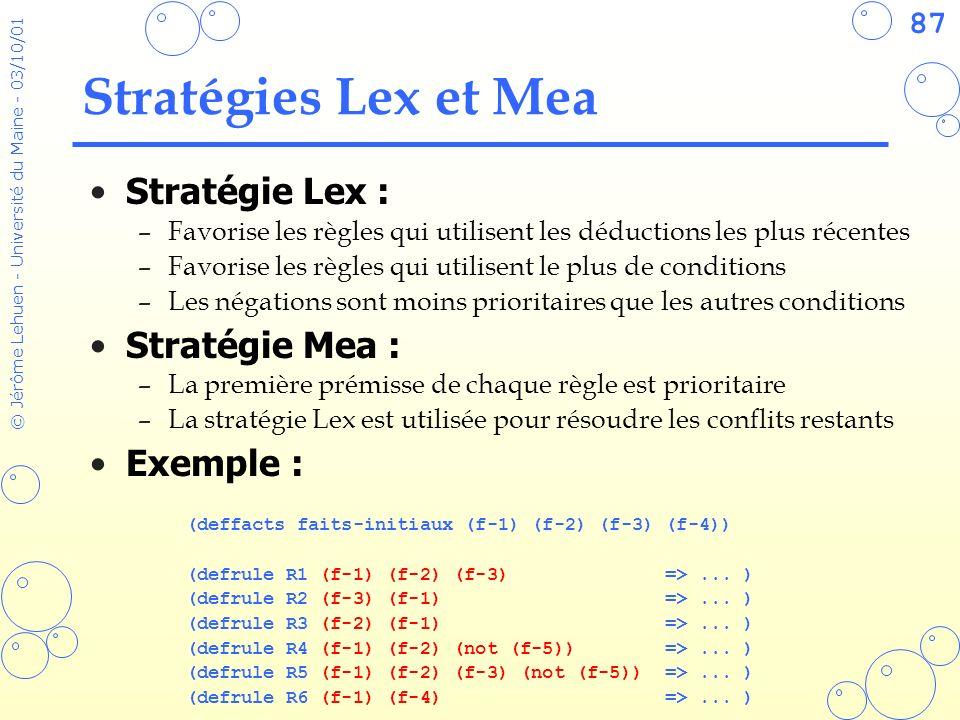 87 © Jérôme Lehuen - Université du Maine - 03/10/01 Stratégies Lex et Mea Stratégie Lex : –Favorise les règles qui utilisent les déductions les plus r