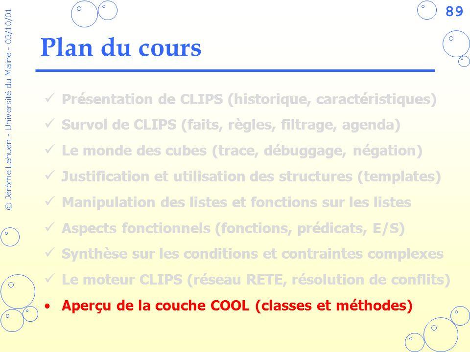 89 © Jérôme Lehuen - Université du Maine - 03/10/01 Plan du cours Présentation de CLIPS (historique, caractéristiques) Survol de CLIPS (faits, règles,