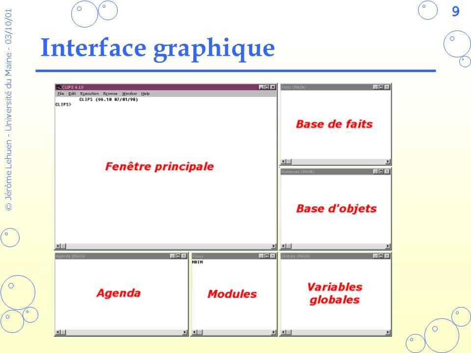 50 © Jérôme Lehuen - Université du Maine - 03/10/01 Les faits structurés Exemple n°2 : (deftemplate bidule Les bidules compliqués (slot nom (type SYMBOL) (default ?NONE)) (slot id (default-dynamic (gensym))) (slot loc (type SYMBOL) (default ?DERIVE)) (slot poids (allowed-values leger lourd) (default leger)) (multislot pointeurs (type FACT-ADDRESS) (default ?DERIVE))) CLIPS> (assert (bidule)) [TMPLTRHS1] Slot nom requires a value because of its (default ?NONE) attrib CLIPS> (assert (bidule (nom cube))) CLIPS> (assert (bidule (nom bloc) (poids lourd)) CLIPS> (facts) f-0 (bidule (nom cube) (id gen1) (loc nil) (poids leger) (pointeurs)) f-1 (bidule (nom bloc) (id gen2) (loc nil) (poids lourd) (pointeurs)) For a total of 2 facts.