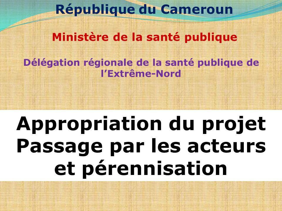Ministère de la santé publique Délégation régionale de la santé publique de lExtrême-Nord Appropriation du projet Passage par les acteurs et pérennisa