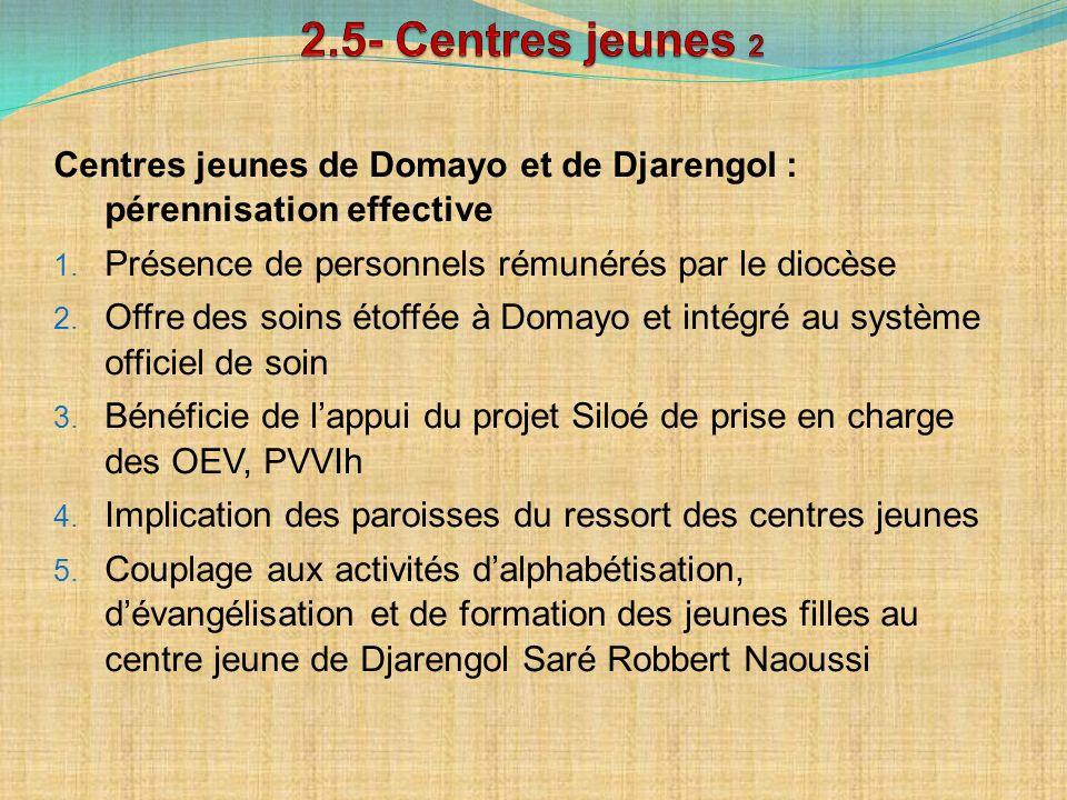 Centres jeunes de Domayo et de Djarengol : pérennisation effective 1. Présence de personnels rémunérés par le diocèse 2. Offre des soins étoffée à Dom