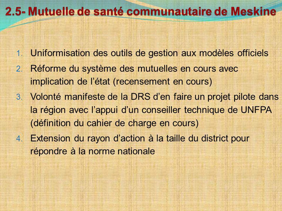 1. Uniformisation des outils de gestion aux modèles officiels 2. Réforme du système des mutuelles en cours avec implication de létat (recensement en c