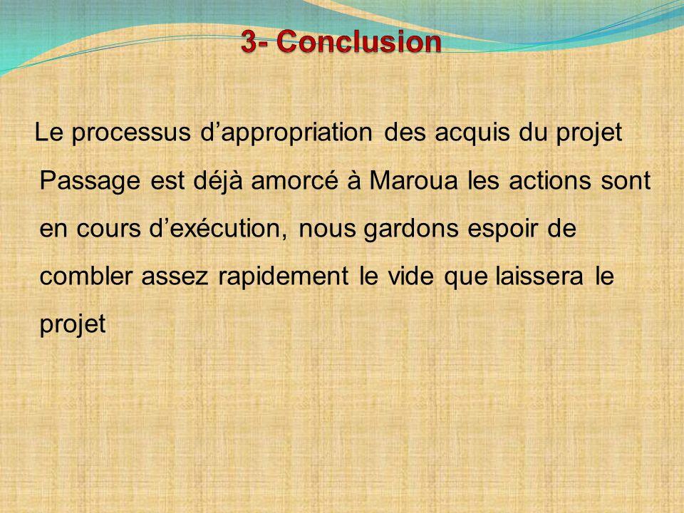 Le processus dappropriation des acquis du projet Passage est déjà amorcé à Maroua les actions sont en cours dexécution, nous gardons espoir de combler assez rapidement le vide que laissera le projet
