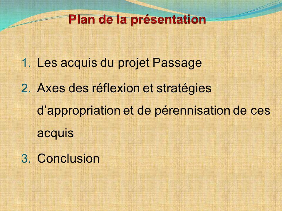 1. Les acquis du projet Passage 2. Axes des réflexion et stratégies dappropriation et de pérennisation de ces acquis 3. Conclusion