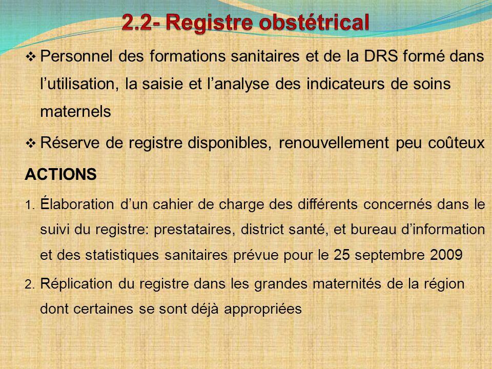 Personnel des formations sanitaires et de la DRS formé dans lutilisation, la saisie et lanalyse des indicateurs de soins maternels Réserve de registre disponibles, renouvellement peu coûteux ACTIONS 1.